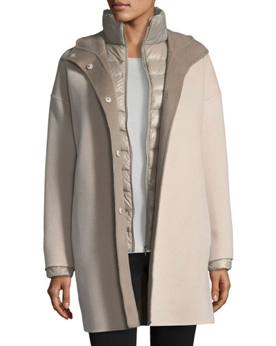 Double-Face Hooded Wool Coat w/ Ultra Light Down Jacket