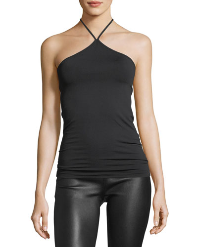 Halter-Neck Fitted Sleeveless Jersey Tank