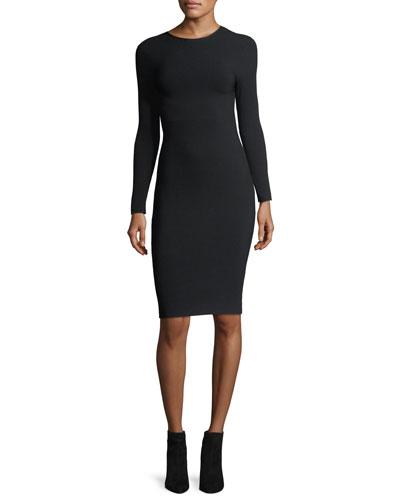 Long-Sleeve Crewneck Tieback Fitted Dress