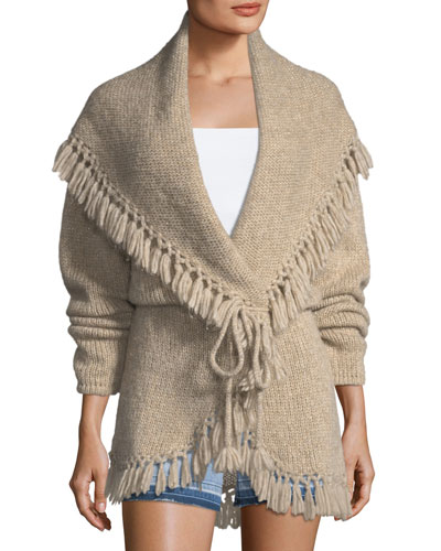 Tassel Cable-Knit Shawl Sweater