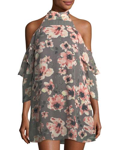 Floral-Print Cold-Shoulder Dress