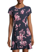 Floral-Print Short-Sleeve Dress
