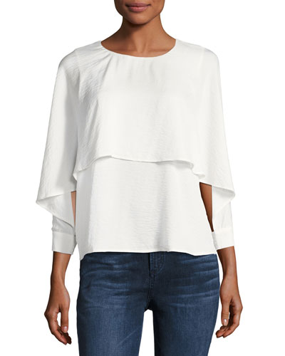 Ruffled Crew-Neck Blouse