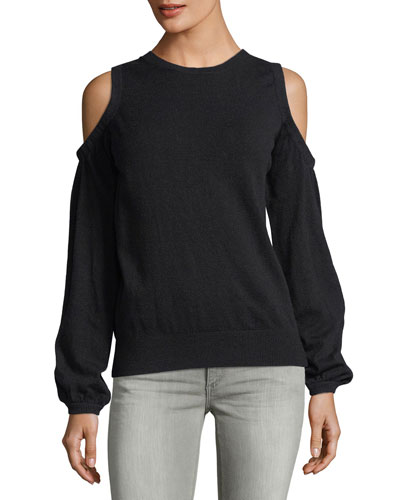 Long-Sleeve Cold-Shoulder Sweater