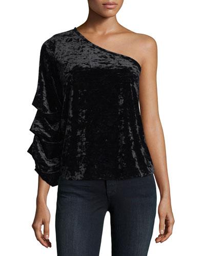 One-Shoulder Velvet Blouse