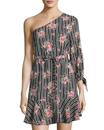 One-Shoulder Print Dress