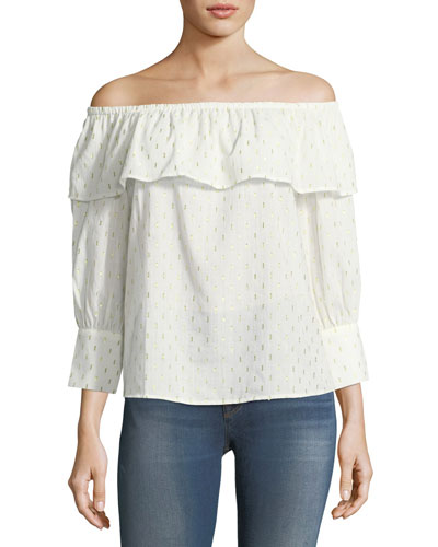 Off-the-Shoulder Cotton-Blend Blouse