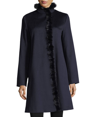 Modern Stand-Collar Dress Coat w/ Mink Trim
