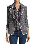 Carroll Portrait-Neck Tweed Double-Breasted Jacket