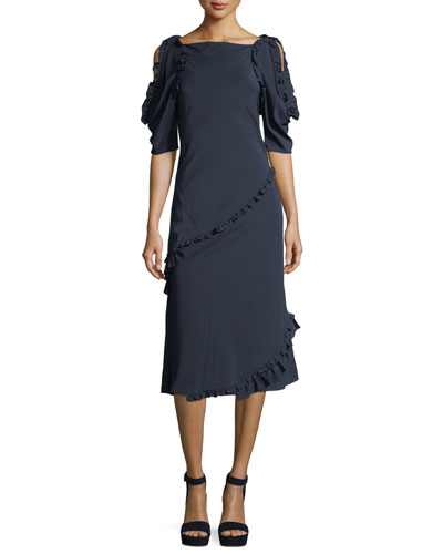 Didi Open-Shoulder Ruffled Dress