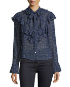 Finley Ruffled Tie-Neck Floral-Print Blouse