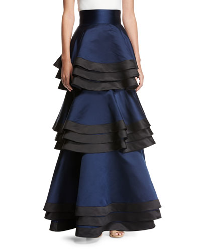 Samba Three-Tier Satin Maxi Skirt