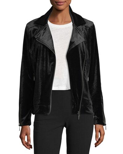 Velvet Moto Zip-Front Jacket