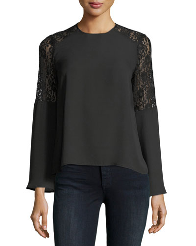 Lace-Shoulder Crepe Blouse