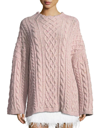 Oversized Fisherman Cable-Knit Sweater