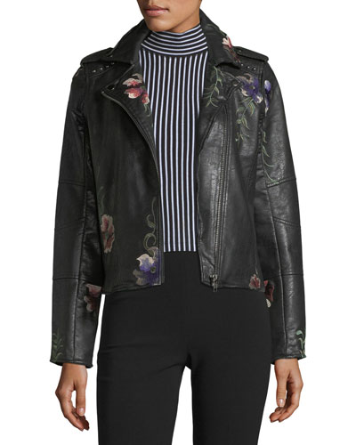 Embroidered Vegan-Leather Moto Jacket