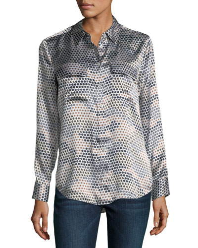 Slim Signature Printed Silk Shirt
