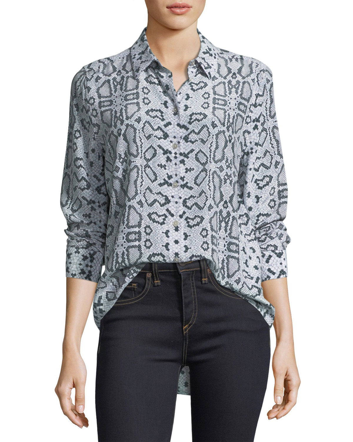 Essential Snake-Print Button-Front Blouse