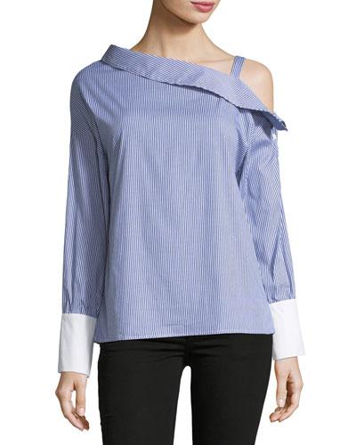 Asymmetric-Neck Striped Blouse
