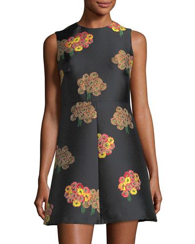 Sleeveless Flying Bouquet Brocade A-Line Dress