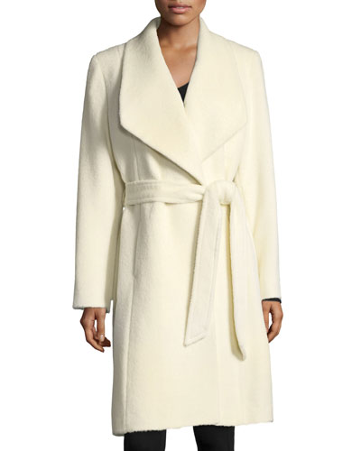 Belted Shawl-Collar Alpaca Wrap Coat