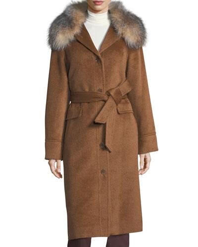 Button-Front Belted Alpaca Top Coat w/ Fur Trim