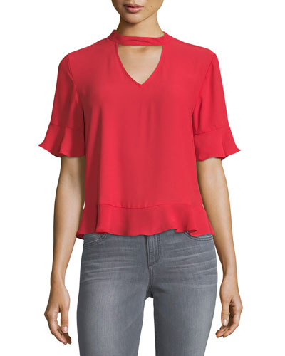 Choker-Collar Short-Sleeve Blouse