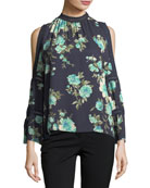 High-Neck Floral-Print Blouse