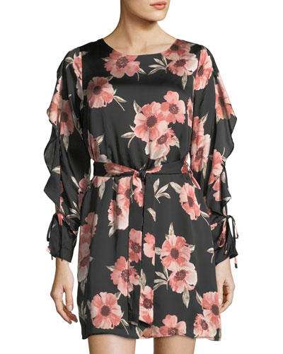 Long-Sleeve Floral-Print Satin Dress