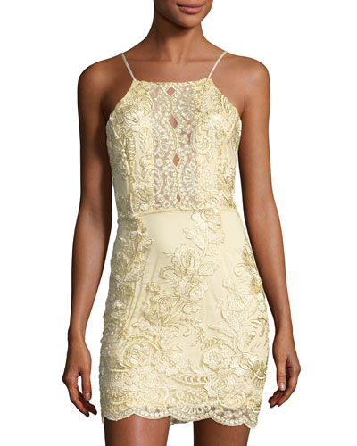 Myra Floral-Embellished Dress, Gold