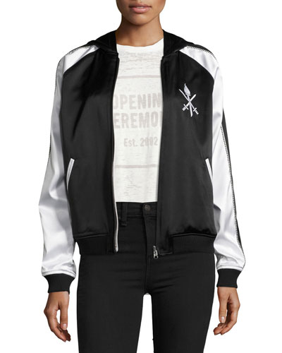Woman Reversible Two-Tone Embroidered Silk-Satin Hooded Bomber Jacket Black in Multi