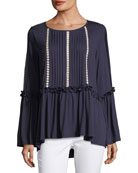 Pleated Bell-Sleeve Tunic