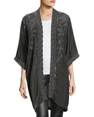 Parina Velvet Embroidered Kimono