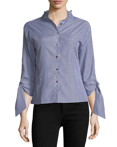 Lisa Striped Blouse with Tie Sleeves, Navy
