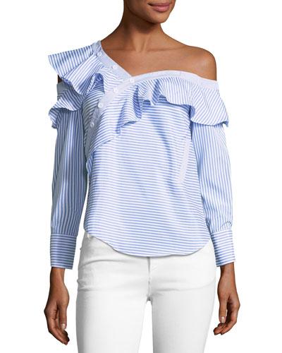 Ida Striped Off-The-Shoulder Blouse, Blue