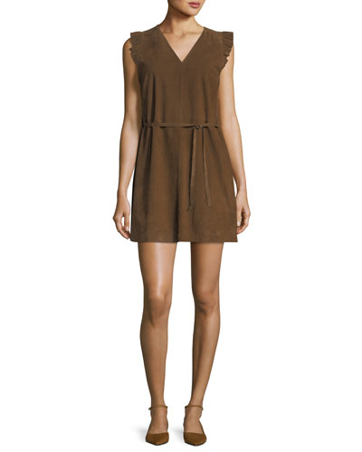 Sleeveless V-Neck Suede Mini Dress