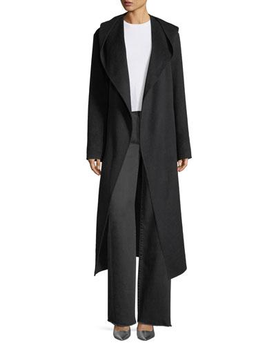 Long Hooded Suede Coat