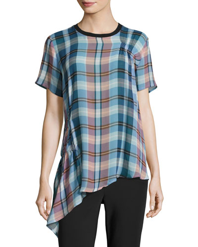 Niko Short-Sleeve Plaid Silk Top W/ Ruching