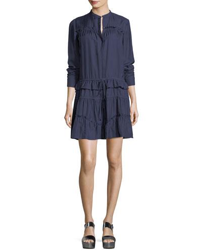 Ruffled Tiered Long-Sleeve Mini Dress