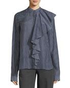 Mandarin-Collar Front-Ruffle Striped Shirt