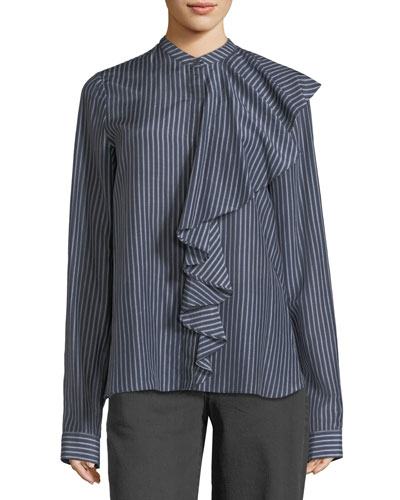 Mandarin-Collar Front-Ruffle Striped Shirt