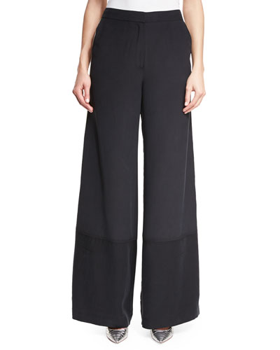 Wide-Leg Silk Pants w/ Striped Sides