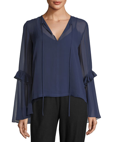 Split-Neck Sleeve Detail Silk Blouse