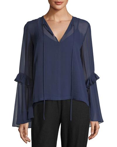 Split-Neck Sleeve Detail Silk Blouse