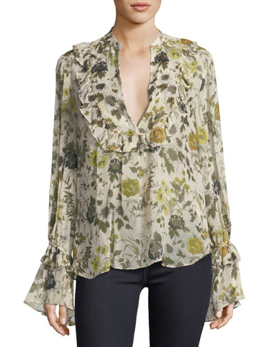 Ruffle Long-Sleeve Chiffon Peasant Top