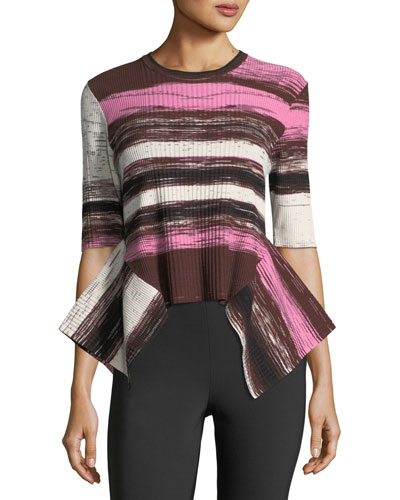 Opening Ceremony  DELTA STRIPED RIB-KNIT SWEATER