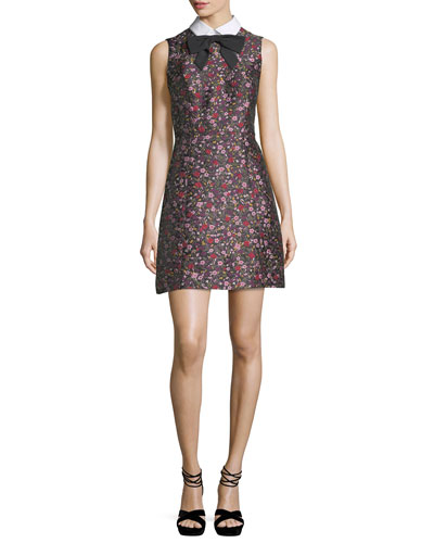 collared sleeveless floral-jacquard mini dress