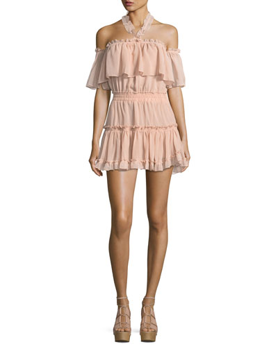 Melis Off-the-Shoulder Halter Ruffled Chiffon Dress
