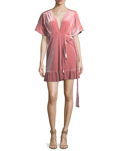 Desma Short-Sleeve Velvet Wrap Dress w/ Braided Ties