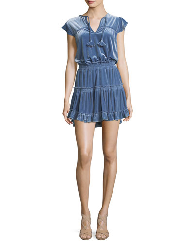 Matias Tiered Velvet Short-Sleeve Mini Dress